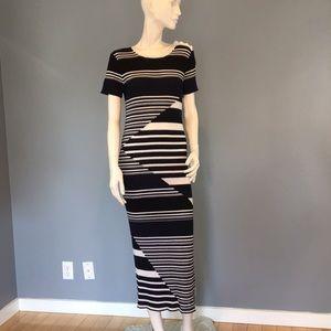 NWT Equipment Blue/Back/White Striped Dress LG